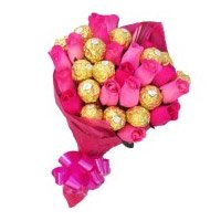 Online Rakhi Delivery in India with Pink Roses 10 Flowers 16 Pcs Ferrero Rocher Bouquet