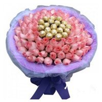 Send Rakhi Gifts Pink Roses 16 Pcs Ferrero Rocher Bouquet with Rakhi to India