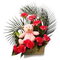 Red Carnation, Small Teddy Basket 12 Flowers with Rakhi