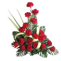 Online Red Carnation Arrangement 20 Flowers with Rakhi Delivery in India