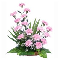 Online Rakhi with Pink Carnation Basket 18 Flowers to India