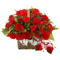 Online Rakhi Delivery with Red Roses and Carnation Basket