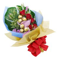 Rakhi Gifts 6 Red Roses 10 Pcs Ferrero Rocher Bouquet to India with Rakhi