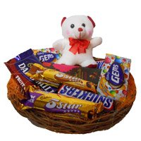 Rakhi with Gifts Basket of Exotic Chocolates and 6 Inch Teddy