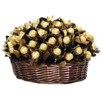 Basket of 48 Pcs Ferrero Rocher and Rakhi Delivery in India