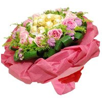Rakhi Gifts for Brother 24 Pink Roses 24 Pcs Bouquet of Ferrero Rocher Chocolate with Rakhi