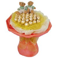 Chocolate and Rakhi to India with Twin 6 Inch Teddy Bouquet on Rakhi
