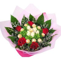 Send Rakhi with Chocolates in India and Red White Roses Bouquet