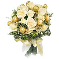 Rakhi Gifts Chocolate with 16 White Roses Bouquet