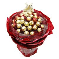 Rakhi Delivery to India with Gifts of 24 Pcs Ferrero Rocher 6 Inch Teddy Bouquet