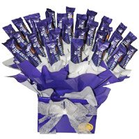 Deliver Rakhi and Dairy Milk Chocolate Bouquet to India
