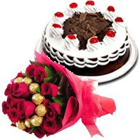 Rakhi with Ferrero Rocher with 30 Red Roses Bouquet and 1/2 Kg Black Forest Cake in India
