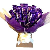 Place Order for Rakhi and Dairy Milk Chocolate Bouquet of 24 Rakhi Chocolates in India