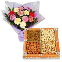 Rakhi with Mixed Carnation With Dry Fruits to India