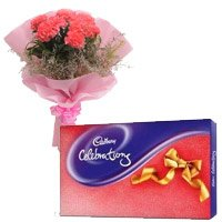 Send Cadbury Celebration Pack with 6 Pink Carnation Flowers to India Online on Rakhi