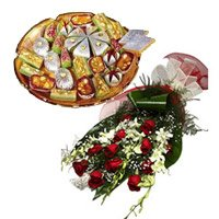 Buy White Orchids with Red Roses Bunch with Rakhi and Kaju Sweets