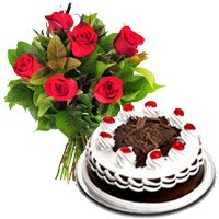 Send 6 Red Roses with 1/2 Kg Black Forest Cakes to Delhi. Rakhi Gifts to Delhi