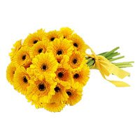 Deliver Yellow Gerbera Bouquet Flowers with Rakhi to India
