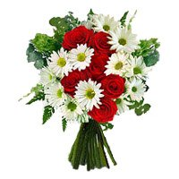 Send Red Roses White Gerbera Bouquet flowers with Rakhi in India