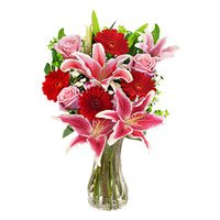 Send Rakhi with 4 Pink Lily 4 Pink Rose 4 Red Gerbera Flower Delivery in India