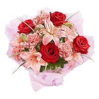 Buy Rakhi with Pink Lily, Red Rose, Pink Carnation Flowers Bouquet to India