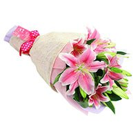 Send Flower to India with Rakhi and Pink Lily Bouquet 3 Stems
