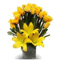 Send Yellow Lily 20 Roses Flowers and Rakhi Delivery in India