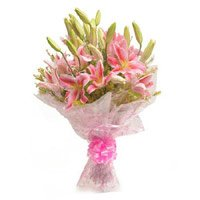 Send online Rakhi with Pink Lily Flower to India
