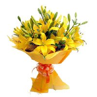 Get Rakhi with Yellow Lily Bouquet Delivery in India