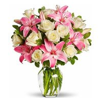 Pink Lily White Rose in Vase 15 Flowers and Rakhi