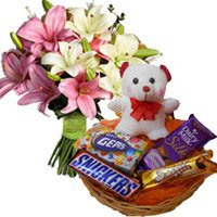 Rakhi with Pink White Lily with 6 Inches Teddy and Chocolate Gifts