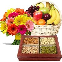 Send 12 Mix Gerberas, 3 Kg Fresh Fruit Basket and 0.5 Kg Mixed Dry Fruits. Send Rakhi Gifts to India