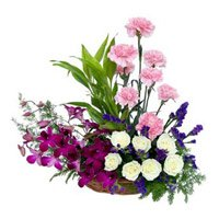 Send Orchids Carnations and Roses Arrangement 18 Flowers with Rakhi in India
