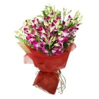 Deliver Rakhi Flowers to faridabad. Purple Orchid 10 Bunch Stem Flowers in India