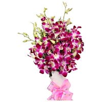 Purple Orchid Bunch of 12 Flowers to India on Rakhi