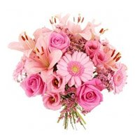 Send Pink Lily, Gerbera, Roses Bouquet to India with Rakhi