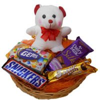 Best Rakhi Gift Delivery in India 6 Inches Teddy with Basket of Chocolates