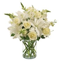 Send Rakhi with White Lily Roses Bouquet Delivery to India on Rakhi